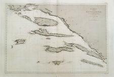 1878 CROATIA CROAZIA DALMAZIA Dalmatia Adriatico Mljet BRAC seekarte Chapellier
