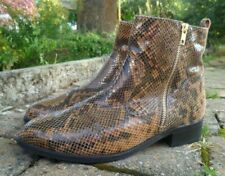 """M&S womens leather ankle boot size 8 * Animal print snakeskin black 1.5"""" heel"""