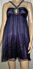New LIPSY Sexy Purple Gem Neck Sheer Overlay Halter Style Party Dress  Size 8