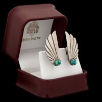 Antique Vintage 925 Sterling Silver Native Navajo Turquoise Wing Earrings 5.7g