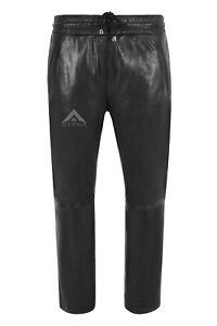 Women Chinos Casual Black Trousers Lambskin Leather Elasticated Relax Fit 3160