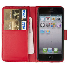 RED Plain Wallets Case Cover with Card Slots and clip for Apple iPhone 5/5S/SE