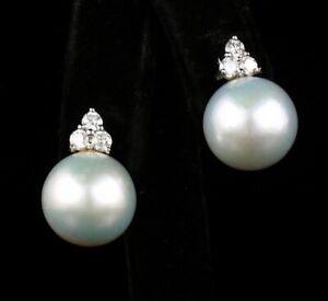 GENUINE LARGE 13.0MM WHITE SOUTH SEA PEARL DIAMOND 18K WHITE GOLD STUD EARRINGS