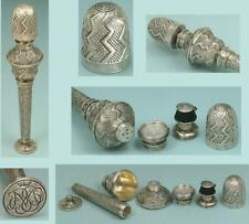 Rare Antique Silver Needlework Compendium/ Thimble * Germany * Circa 1780