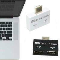 USB2.0 Stecker Doppelladegerät 2Port USB Splitter Hub Adapter Konverter Extender