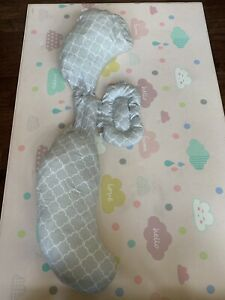 The Bobby Slipcovered Total Body Pregnancy Pillow Gray/ White