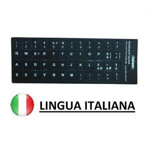 ADESIVI ETICHETTE STICKERS TASTIERA ITALIANA PC NOTEBOOK COLORE NERO LAPTOP