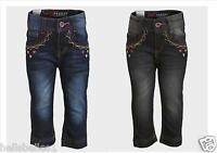 GIRL'S EMBROIDERED CROPPED DENIM JEANS WITH ADJUSTABLE WAIST 2 3 4 5 6 8YRS