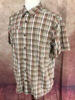 North Face Short Sleeve Outdoors Camping Hiking Brown Plaid Shirt Men's L