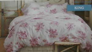 Simply Shabby Chic Pink Blush Bouquet KING Duvet Cover + Shams Set ~ NEW