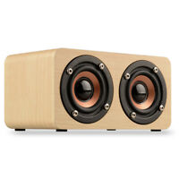 Bluetooth Wireless Speaker Super Bass Wooden 3D Surround Stereo Dual Loudspeaker