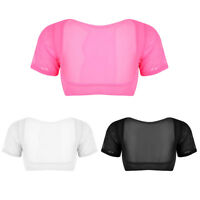 Women's Sexy Mesh See Through Open Bust Short Sleeve Crop Top Shirts Blouse Tops