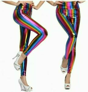 Ladies Shiny American Metallic High Waist Disco Leggings Wet Look Stretchy Pants