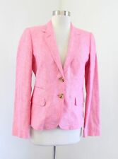 NWT J Crew Womens Pink 100% Linen Schoolboy Blazer Suit Jacket Size 6