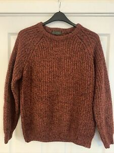 P.G.Field Cable Knit Red Black Speckled Jumper size Small
