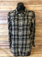 Womens Kavu Flannel Shirt Size Small Long Sleeve Button Down Black White Plaid