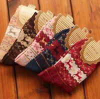 Women Winter Socks Christmas Gift Warm Wool Sock Cute Snowflake Deer Comfortable