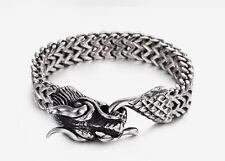 Mens Stainless Steel Dragon Head 12mm Franco Cuban Chain Bracelet + Box #B249
