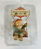 Enesco Merry Christmas 1991 Ornament Girl Bear on Swing Vintage Sealed No Box