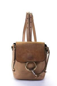 Chloe Leather Faye Day Shoulder Backpack Handbag Tan Gold