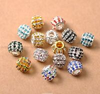 Big Hole Czech Crystal Rhinestone Pave Rondelle Spacer Beads Fit European Charms