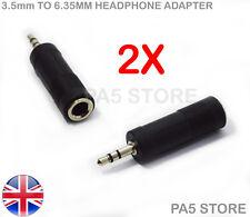"2x 3.5mm Male to 6.35mm 1/4"" Female Headphone Adapter Stereo - Chrome/Black UK"