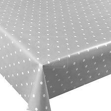 Light Grey Polka Dot Spotty Wipe Clean PVC Vinyl Oilcloth Tablecloth 200 x 137cm