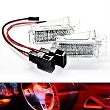 2x LED Footwell Lighting Module - Audi VW Seat Skoda Golf Passat 3 4 5 6 Red