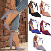 Womens Ankle Strap Pointed Toe Sandals High Block Heels Party Pumps Court Shoes