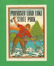 "VINTAGE ORIGINAL 1948 ""PROMISED LAND LAKE STATE PARK"" PENNSYLVANIA DECAL ART"