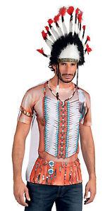 Mens Indian Warrior 3D T-Shirt Or Native American Headress Fancy Dress Costume