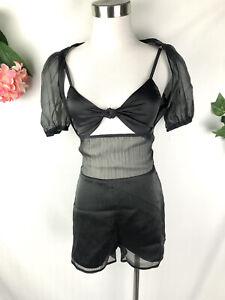 TIGERMIST Black Sheer Short Sleeve Playsuit With Separate Crop Bra Top - XS