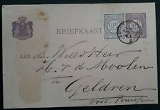 1881 Netherlands 2 1/2c Stamped Postcard with extra stamp canc Zutphen