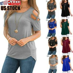 Nekosi Womens Casual Cold Shoulder Tunic Tops Summer Short Sleeve Swing Loose Blouse Shirts