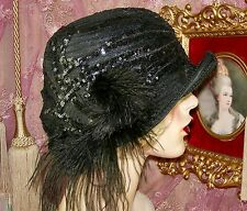 1920'S VINTAGE STYLE BLACK SEQUINED APPLIQUE FEATHER CLOCHE FLAPPER HAT