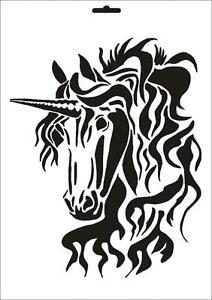 Wandschablone Maler T-shirt Schablone W-069 Einhorn ~ UMR Design