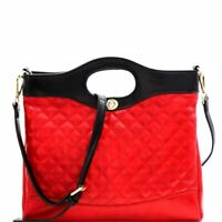 Handle Accent Two-Tone Quilted 2-Way Satchel Bag