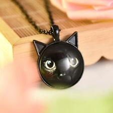 Black Cat Necklace Cabochon Glass Alloy Locket Pendant Chain Women Girl Gift