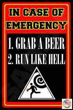 FUNNY MAN CAVE METAL SIGN 8X12 USA MADE BAR EMERGENCY HURRICANE EVACUATION PLAN