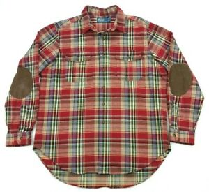 Polo Ralph Lauren Heavy Flannel Elbow Patch Red Plaid Work Hunting Shirt XL