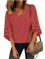 LookbookStore Women's V Neck Faux Wrap 3/4 Bell Sleeves, Tea Rose, Size X-Large