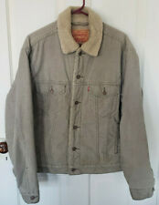 Levis Corduroy Beige Sherpa Fleece Lined Trucker Jacket Mens Size M