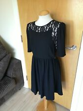 Ladies WAREHOUSE Dress Size 12 Black Fit And Flare Smart Office Work Day