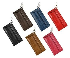 Leather Glasses Case With Pen Holder Genuine Croc Print Leather Keychain Pouch