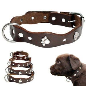 Soft Leather Small Pet Puppy Dog Collars Cute Paw for Medium Dogs Beagle Yorkie