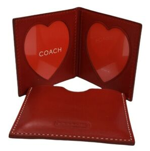 Vintage Coach Womens Bifold Photo Frame Case Red Leather Heart CutoutLove