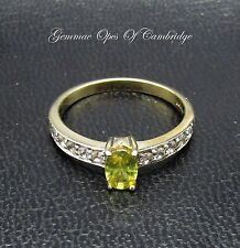 9ct Gold Yellow Stone and Channel Set White Sapphire Ring Size N 2.1g