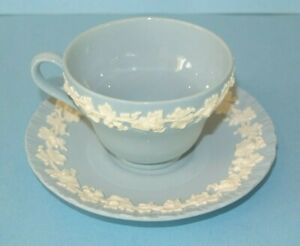 Vtg. Wedgwood Queens Ware Cream Grape Leaves on Lavender Blue Cup & Saucer ~ NOS