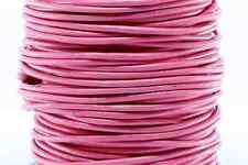 "50m Pink 3MM Genuine Round Leather Cord 1/8"" DIY Craft 50 Yards Beading String"
