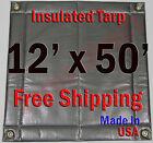 "12' x 50' Insulated Poly Tarp 1/4"" Foam Core Concrete Padding Wall Cushion Kiln"